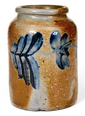 Fine Small-Sized Remmey, Philadelphia Stoneware Jar w/ Profuse Cobalt Floral Decoration