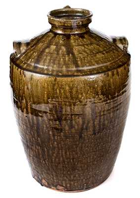 Unusual 5 Gal. Catawba Valley, NC Alkaline-Glazed Stoneware Three-Handled Jar