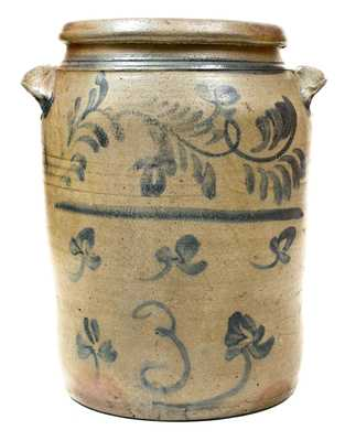 Rare Morgantown, WV Stoneware Jar w/ Molded Handles and Brushed Floral Decoration
