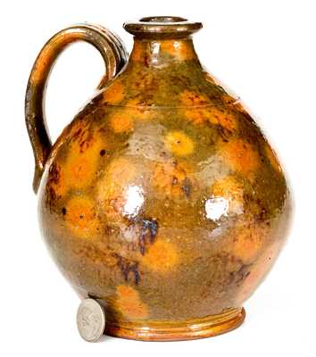 Fine Small-Sized New England Redware Jug with Sponged Manganese Decoration