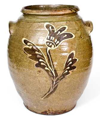 Exceptional Collin Rhodes, Edgefield, SC, Stoneware Jar w/ Two-Color Slip Decoration
