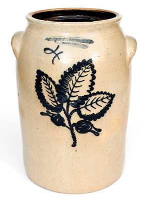 Fine F. STETZENMEYER / ROCHESTER, NY Stoneware Jar w/ Slip-Trailed Foliate Decoration