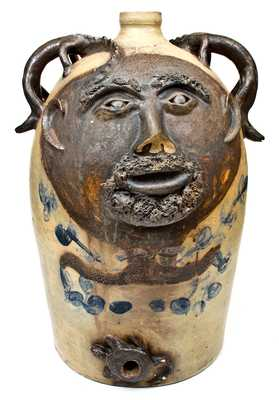 Exceedingly Rare and Important Twenty-Gallon Stoneware Face Water Cooler