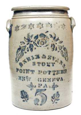 Outstanding ENEIX & EVANS / STONY POINT POTTERY / NEW GENEVA, PA Stoneware Jar
