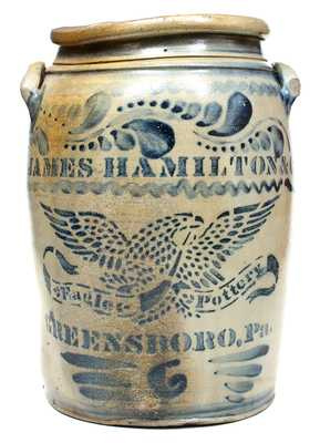 Outstanding JAS. HAMILTON & CO. / GREENSBORO, PA Stoneware Jar with Stenciled Eagle