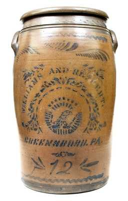12 Gal. WILLIAMS & REPPERT / GREENSBORO, PA Stoneware Jar w/ Stenciled Eagle Decoration