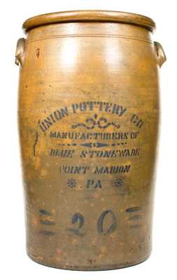Rare 20 Gal. UNION POTTERY CO. / POINT MARION, PA Stoneware Jar