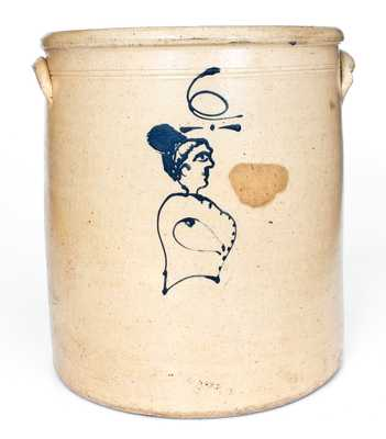 Fine 6 Gal. Ohio Stoneware Crock w/ Woman's Bust and Floral Decoration