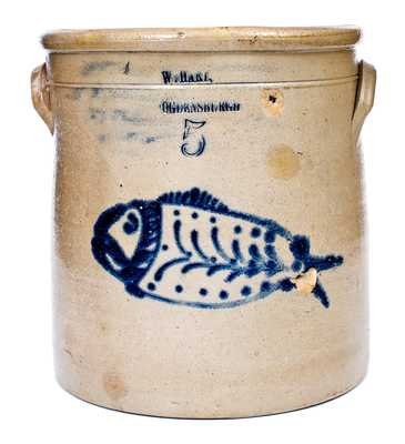 Rare W. HART / OGDENSBURGH Stoneware Crock w/ Detailed Fish Decoration
