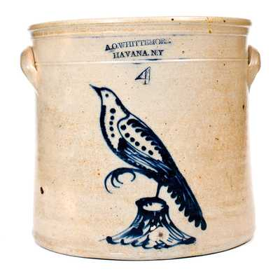 4 Gal. A. O. WHITTEMORE / HAVANA, NY Stoneware Crock w/ Bird-on-Stump Decoration