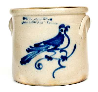1 Gal. J. & E. NORTON / BENNINGTON, VT Stoneware Crock with Bird Decoration