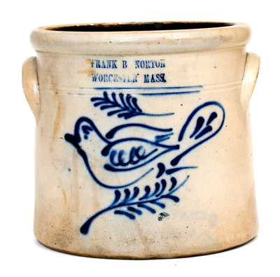 FRANK B. NORTON / WORCESTER, MASS. Stoneware Crock with Dove Decoration