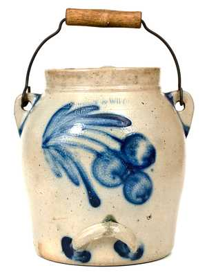 COWDEN & WILCOX / HARRISBURG, PA Stoneware Batter Pail w/ Cherries Decoration