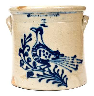 Fine W. ROBERTS BINGHAMTON, NY Stoneware Crock with Elaborate Bird Decoration