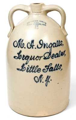 5 Gal. FORT EDWARD, N.Y. Stoneware Jug w/ Little Falls, NY Script Advertising