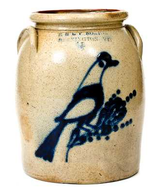 1 1/2 Gal. E. & L. P. NORTON / BENNINGTON, VT Stoneware Jar with Bird Decoration