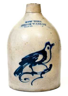 1 Gal. NEW YORK STONEWARE CO. / FORT EDWARD, NY Stoneware Bird Jug