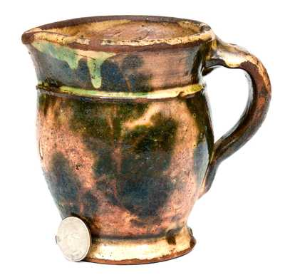 Squat Multi-Glazed Redware Pitcher, Strasburg, VA, circa 1890
