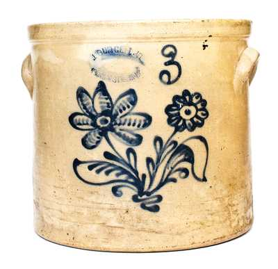 J. BURGER JR. / ROCHESTER, NY Stoneware Crock w/ Slip-Trailed Floral Decoration