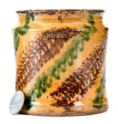 Outstanding J. BELL (John Bell, Waynesboro, PA) Redware Jar w/ Multi-Colored Slip Decoration