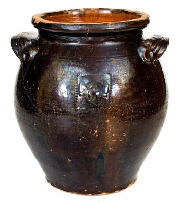 Very Unusual Redware Jar with Relief Federal Eagle Design, possibly Southern