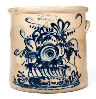 HAXSTUN & CO. / FORT EDWARD, N. Y. Stoneware Crock w/ Elaborate Flowering Urn