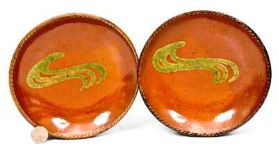 Lot of Two: Small-Sized Redware Plates with Green Slip Decoration