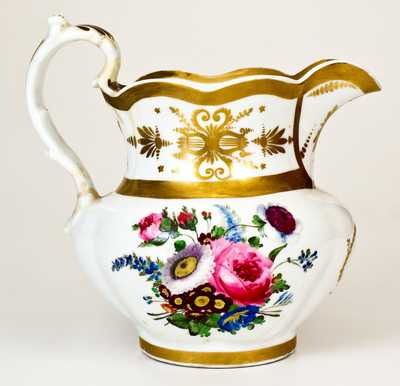 Rare and Important Tucker Porcelain Pitcher, Philadelphia, PA, circa 1832-1838
