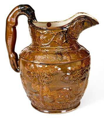 Exceptional AMERICAN POTTERY / JERSEY CITY, N.J. Large-Sized Stoneware Hunt Scene Pitcher
