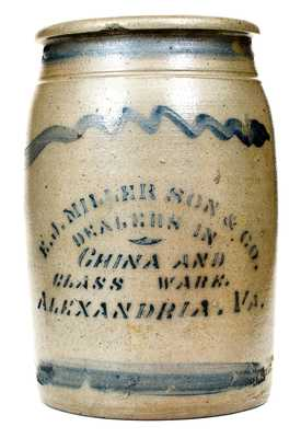 1 Gal. Western PA Stoneware Jar with E. J. MILLER SON & CO. / ALEXANDRIA, VA Stenciled Advertising
