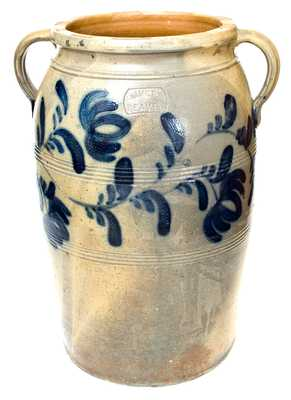 Outstanding 8 Gal. J. HAMILTON / BEAVER Open-Handled Stoneware Jar w/ Floral Decoration
