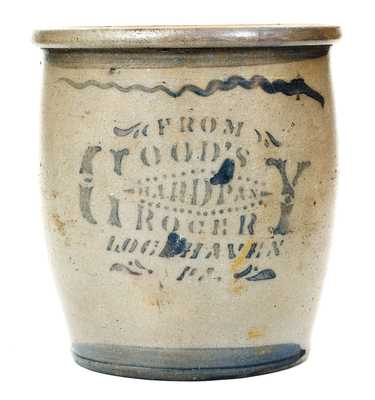 Rare LOCH HAVEN, PA Stoneware Advertising Jar, Greensboro, PA Origin
