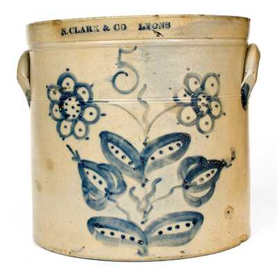 5 Gal. N. CLARK & CO. / LYONS Stoneware Crock w/ Profuse Floral Decoration