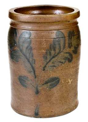 1/2 Gal. B. C. MILBURN, Alexandria, VA, Stoneware Jar with Floral Decoration
