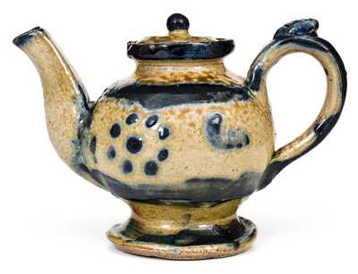 Very Unusual Stoneware Teapot with Cobalt Decoration