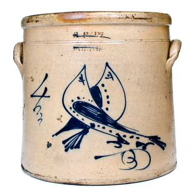 4 Gal. S. HART / FULTON Stoneware Crock w/ Double Bird Decoration