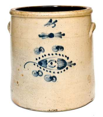 4 Gal. Ohio Stoneware Crock with Fishing Lure Decoration