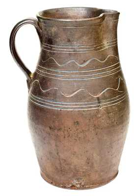 East Tennessee Stoneware Pitcher with Sine Wave Decoration