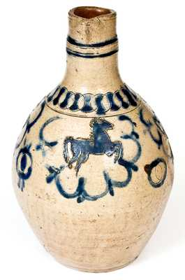 Westerwald Stoneware Jug with Impressed Horse Decoration
