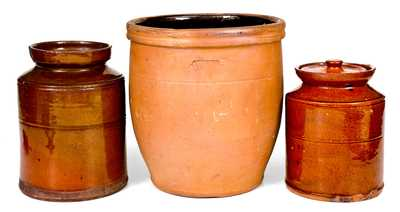 Lot of Three: Redware Jars incl. JOHN BELL / WAYNESBORO Example