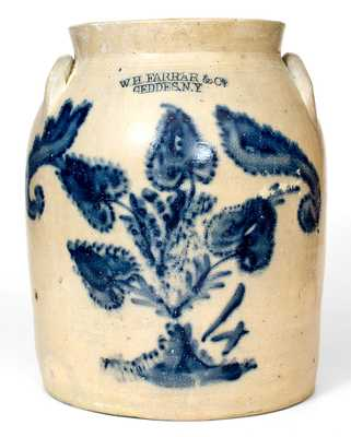 W. H. FARRAR & CO. / GEDDES, NY Stoneware Jar w/ Elaborate Floral Decoration