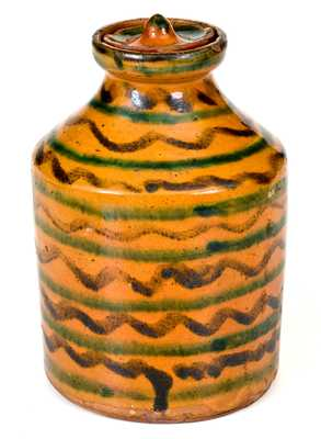 Exceptional Redware Jar with Elaborate Multi-Colored Slip Decoration