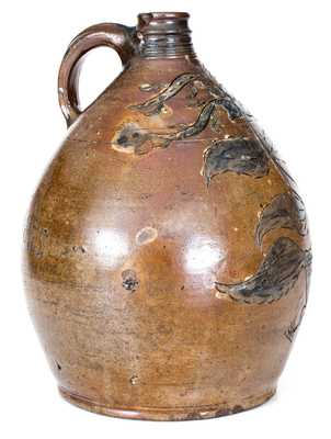 Exceptional South Amboy, NJ Stoneware Jug with Elaborate Incised