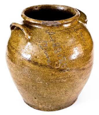 Rare and Important Four-Gallon Alkaline-Glazed Stoneware Jar, Inscribed