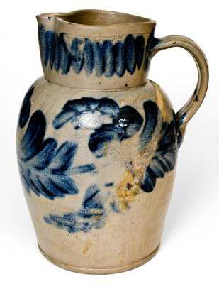 Exceptional Two-Gallon Stoneware Pitcher with Profuse Cobalt Floral Decoration, Stamped