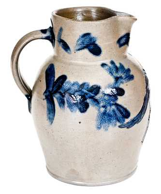 Very Rare Henry Remmey, Baltimore Stoneware Pitcher w/ Incised Bird Design