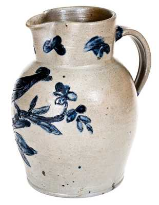 Outstanding Stoneware Pitcher with Incised Bird Decoration, Henry Remmey, Baltimore, MD, 1812-1829