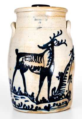 FORT EDWARD / POTTERY CO. Stoneware Deer Churn (George Satterlee)