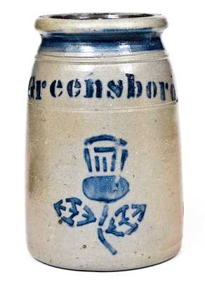 Exceptional Stoneware Canning Jars with Stenciled Cobalt Decorations, Greensboro, PA origin, circa 1865-1870.