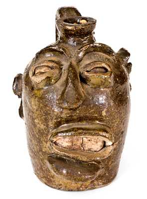 Face Jug from Lewis Miles' Stoney Bluff Manufactory, Edgefield, South Carolina, c1855-70